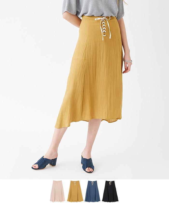 フロントレースアップフレアミディアムスカート【メール便可/70】