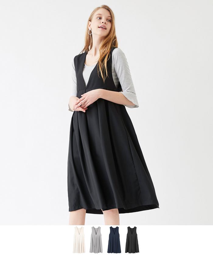 Vネックタックジャンパースカート/ワンピース