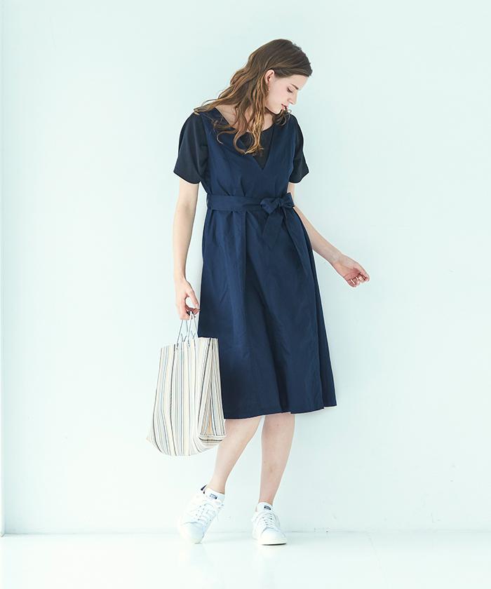 99d030e5e90 Vネックジャンパースカート/ワンピース【メール便可/100】