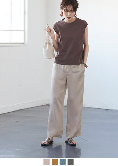 ヴィンテージサテンリラックスセミワイドパンツ【メール便可/90】