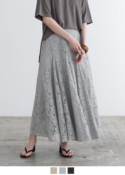 ウエストゴムレースロングスカート