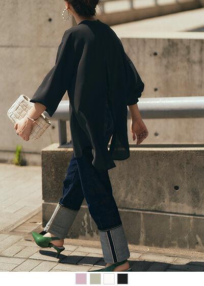 バックスリットバンドカラーシャツ【メール便可/90】