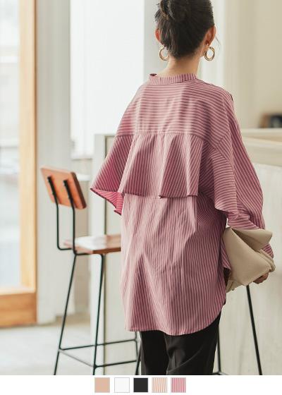 スタンドカラーバックフリルシャツ【メール便可/100】〔人気商品!予約〕