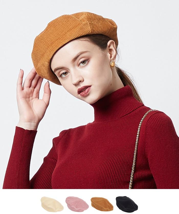 コーデュロイベレー帽【メール便可/30】