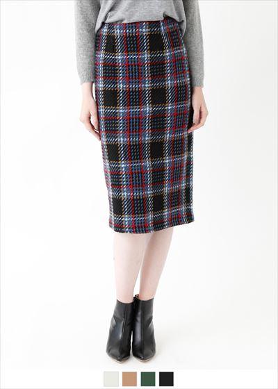フェイクツイードチェックタイトスカート〔人気商品!予約〕