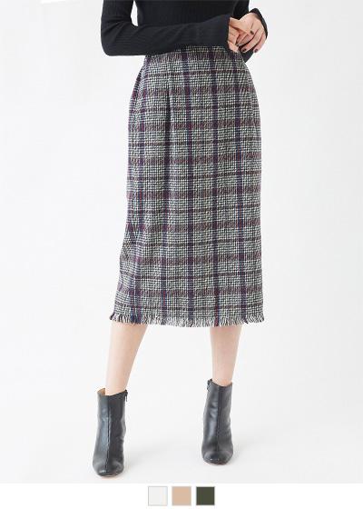 起毛チェックフリンジタイトスカート