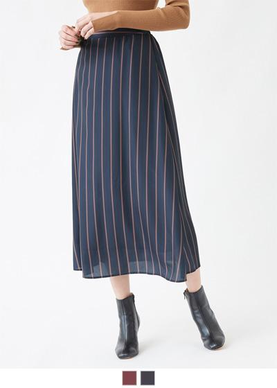 マルチストライプフレアスカート【メール便可/90】〔先行受注!予約〕