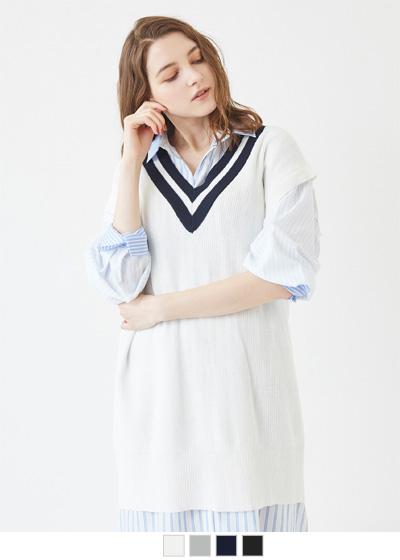 綿混チルデンニットベスト【メール便可/100】