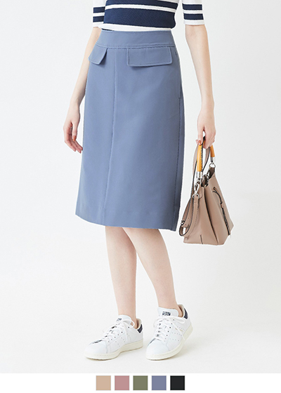 Aラインミモレ丈スカート【メール便可/100】