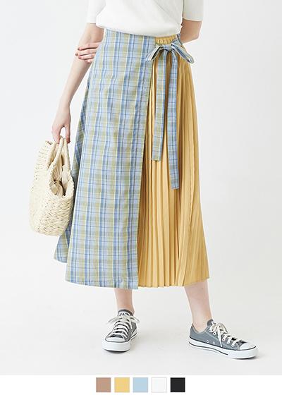 配色プリーツスカート【メール便可/100】〔人気商品!予約〕