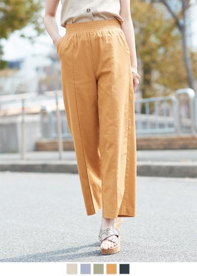 リネン混センターピンタックワイドパンツ【メール便可/100】〔先行受注!予約〕