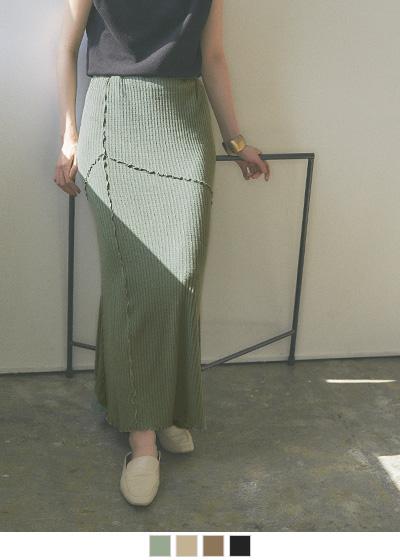 リブカットソーメロースカート