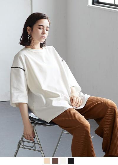 デザインステッチロング丈Tシャツ