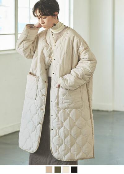 マットタフタパイピングキルティングコート